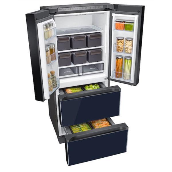 [Samsung]Smart Kimchi & Specialty 4-Door French Door Refrigerator in White-Navy Glass(RQ48T94B277)